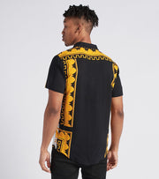 Reason  Marble Gold Woven Shirt  Black - S1172-BGD | Aractidf