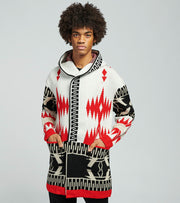 One In A Million  Tribal Hooded Long Sleeve Cardigan  White - S20063-WRD | Jimmy Jazz