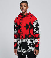 One In A Million  Tribal Hooded Long Sleeve Cardigan  Black - S20067-BRD | Jimmy Jazz