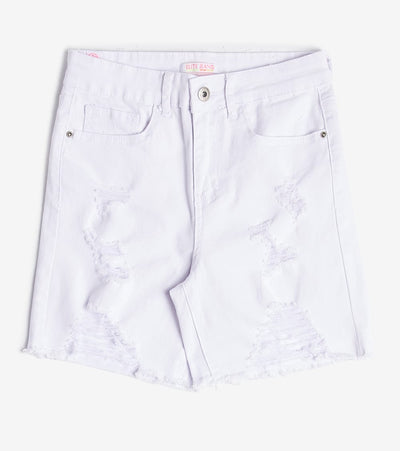 Essentials  Destructed Ripped Hem Shorts  White - S2060604-WHT | Jimmy Jazz
