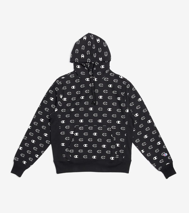 Champion  Reverse Weave All Over Print Hoodie  Black - S2974-7F | Jimmy Jazz