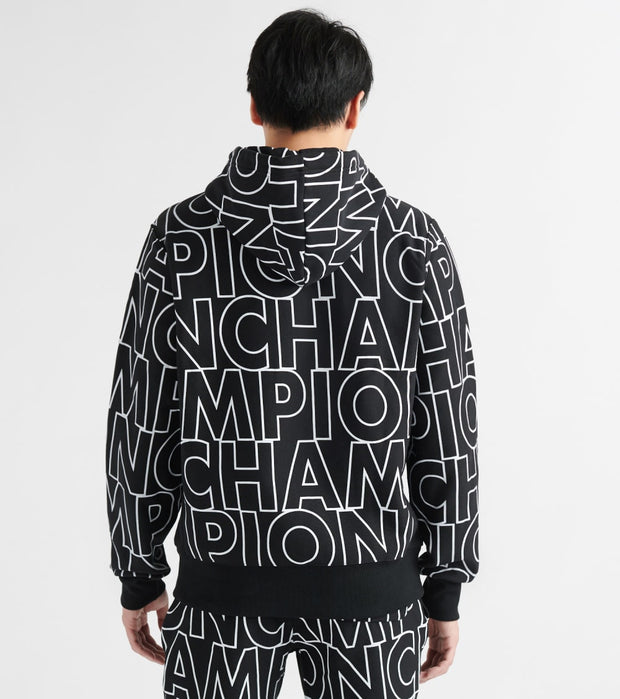Champion  Reverse Weave All Over Print Hoodie  Black - S2974-7R | Jimmy Jazz