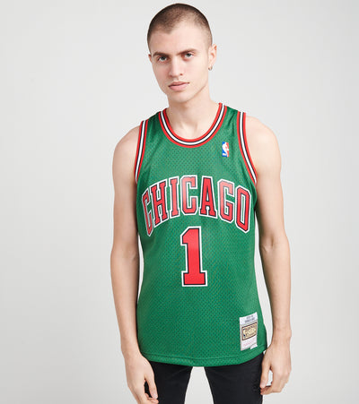 Mitchell And Ness  Derrick Rose 1 Bulls Jersey  Green - SMJYCP19241CBU-DKGN | Jimmy Jazz
