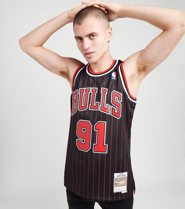 Mitchell And Ness  Dennis Rodman 91 Bulls Jersey  Black - SMJYGS18150CBU-BLCK | Jimmy Jazz