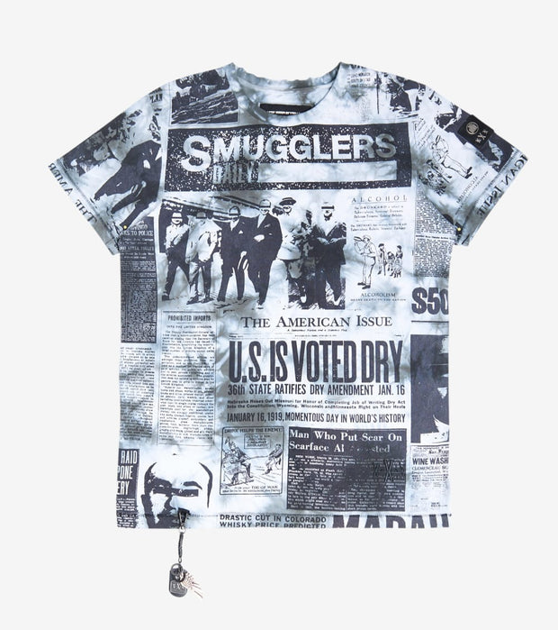 Smugglers Moon  Newspaper Print Tee  White - SMKT1046-BTD | Jimmy Jazz