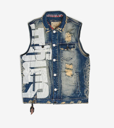 Smugglers Moon  Smugglers Ripped Denim Vest  Blue - SMVST004-VIN | Jimmy Jazz