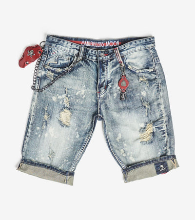 Smugglers Moon  Non Stretch Denim Shorts With Cuffs  Blue - SMWB020-PIN | Jimmy Jazz