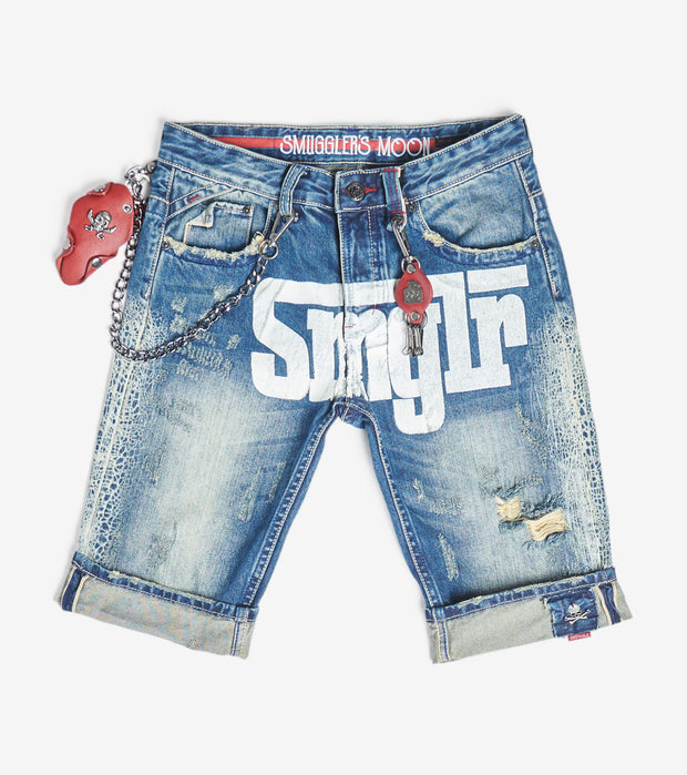 Smugglers Moon  Stretch Denim Shorts With Cuff  Blue - SMWB021-VIN | Jimmy Jazz