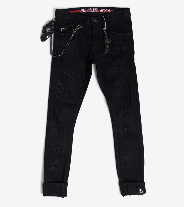 Smugglers Moon  Stretch Jeans With Cuff  Black - SMWB033-BBK | Jimmy Jazz