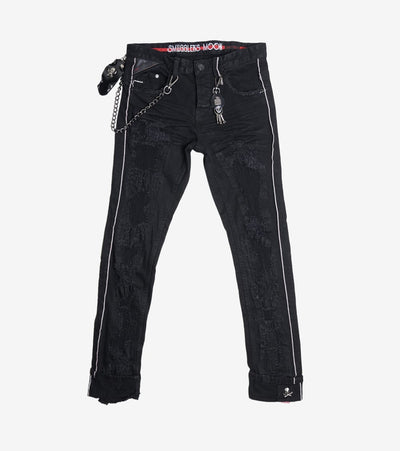 Smugglers Moon  Stretch Jeans With Red Trim  Black - SMWB040-BBK | Jimmy Jazz