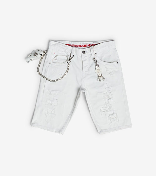 Smugglers Moon  Stretch Denim Shorts With Cuffs  White - SMWB5072-TWT | Jimmy Jazz