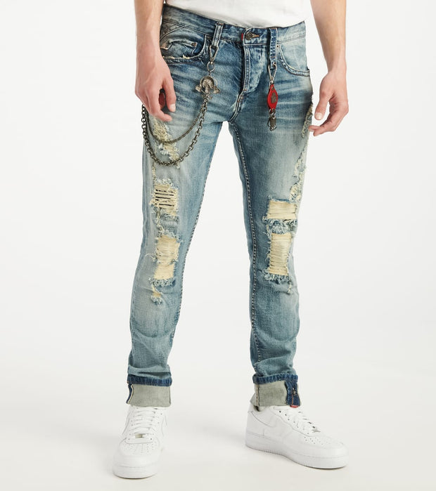 Smugglers Moon  Stretch JeansWith Backing and Cuff  Blue - SMWB5088-MWS | Jimmy Jazz
