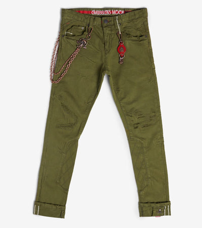 Smugglers Moon  Stretch Jeans With Quilt N Cuff  Green - SMWB5103-OLV | Jimmy Jazz