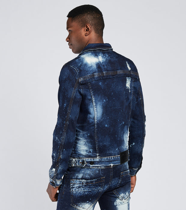Smugglers Moon  Denim Jacket with Acid Detail  Blue - SMWJKT2001-IND | Jimmy Jazz