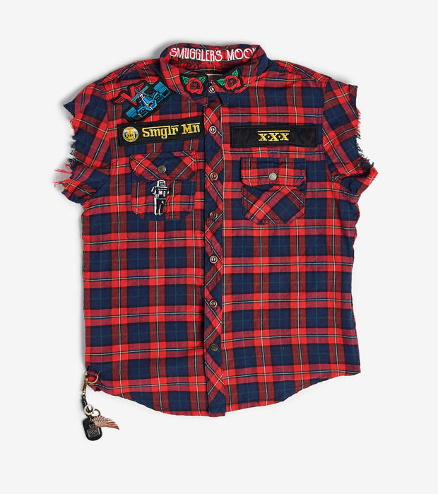 Smugglers Moon  Smuggler Plaid Short Sleeve Button Down  Red - SMWT003-KRD | Jimmy Jazz