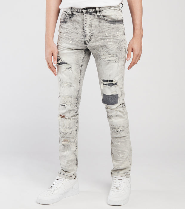 Decibel  5 Pocket Rip Knee Stitched Jeans L32  Grey - SS121233-GRY | Jimmy Jazz