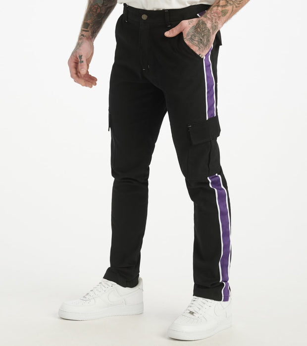 Decibel  Side Stripe Cargo Pants  Black - SS20TW01-BPU | Jimmy Jazz