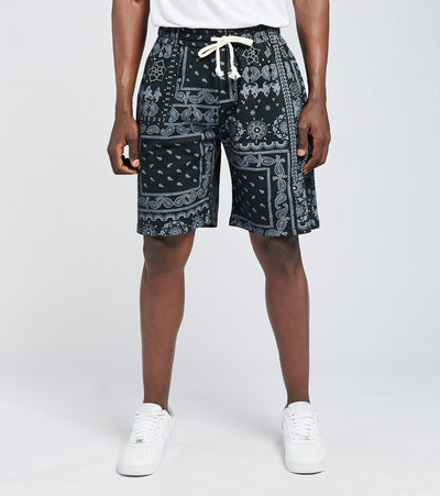 American Stitch  Bandana Print Fleece Shorts  Black - SS21S502-BLK | Jimmy Jazz