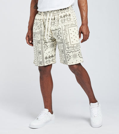 American Stitch  Bandana Print Fleece Shorts  White - SS21S502-WHT | Jimmy Jazz