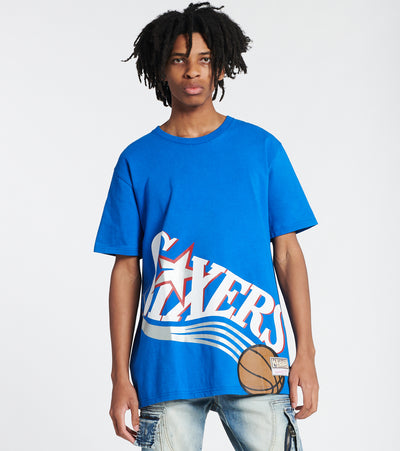 Mitchell And Ness  76ers Big Face Short Sleeve Tee  Blue - SSTEBW19070-PHL | Jimmy Jazz