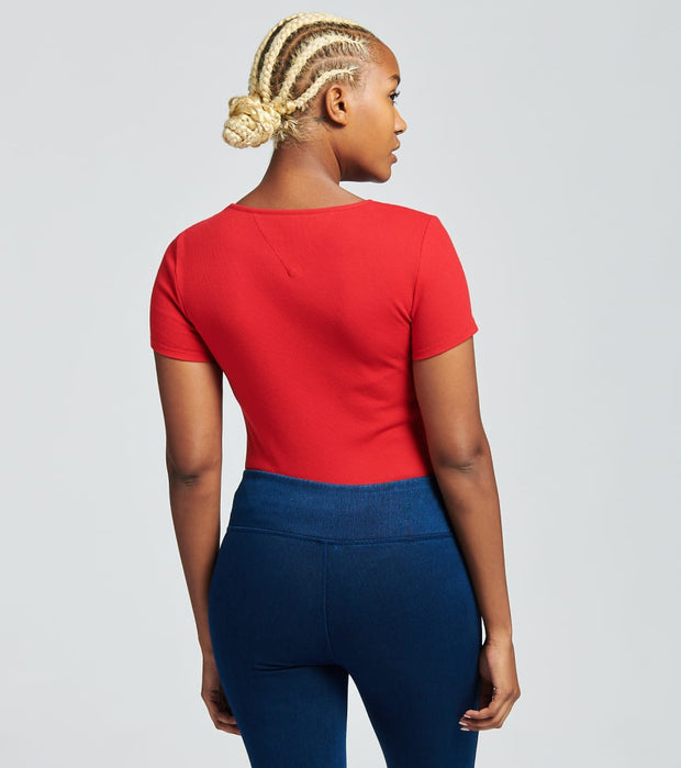 Tommy Hilfiger  Ribbed Bodysuit  Red - T0AH0ZGI-SCA | Jimmy Jazz