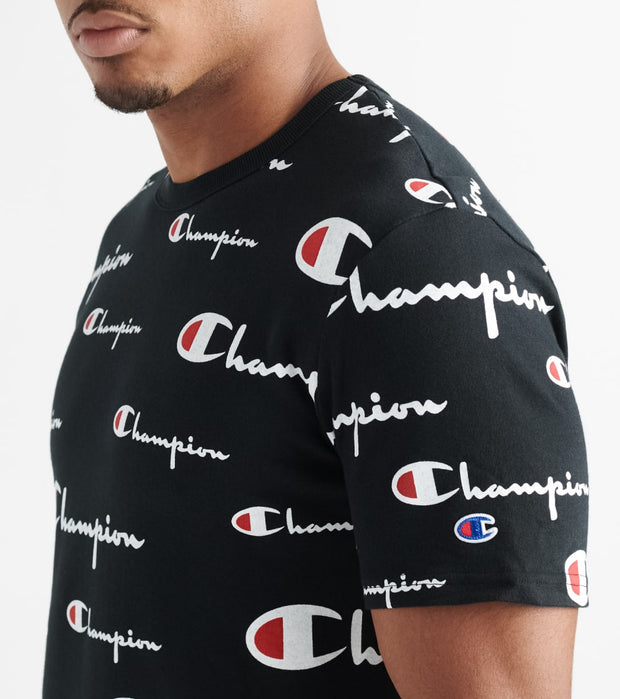 Champion  Heritage All Over Script Tee  Black - T1919S-8S | Jimmy Jazz