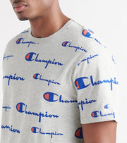 Champion  Heritage All Over Script Tee  Grey - T1919S-8U | Jimmy Jazz
