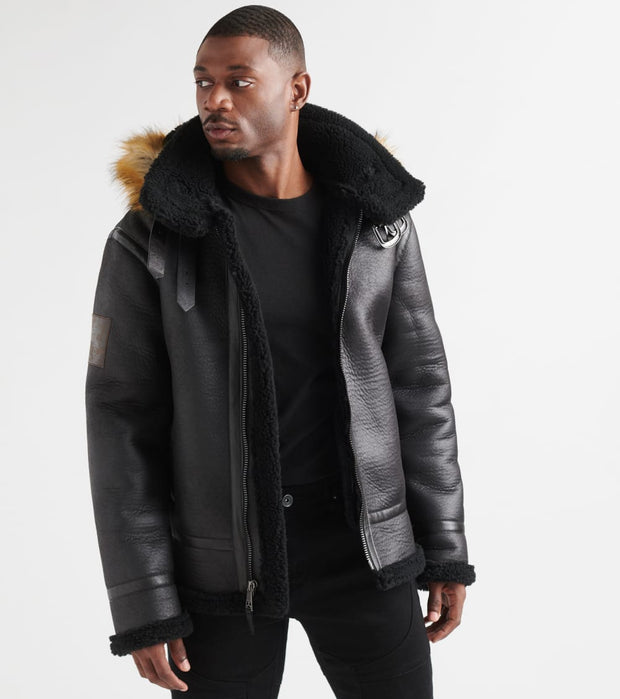 Top Gun  Premium Wool Shearling Jacket  Black - TGJ1921-BLK | Jimmy Jazz