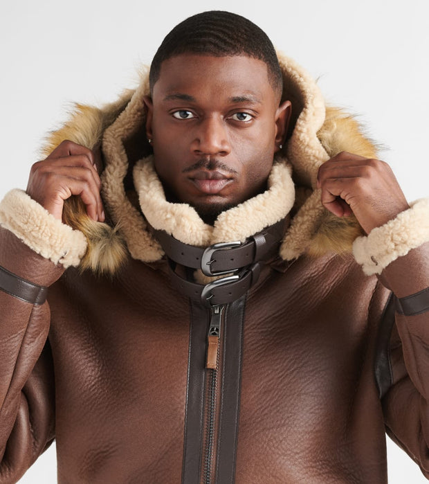 Top Gun  Premium Wool Shearling Jacket  Brown - TGJ1921-BRW | Jimmy Jazz