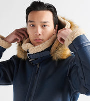 Top Gun  Premium Wool Shearling Jacket  Navy - TGJ1921-NVY | Jimmy Jazz