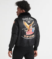 Top Gun  Eagle Nylon Bomber Jacket  Black - TGJ1938-BLK | Jimmy Jazz