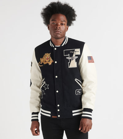 Top Gun  Leopard Wool Varsity Jacket    Navy - TGJ1949-NVY | Jimmy Jazz