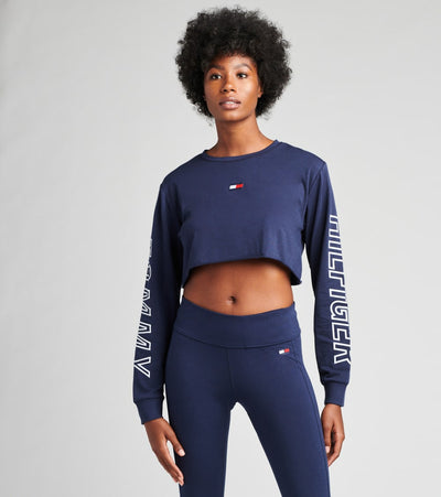 Tommy Hilfiger  Long Sleeve Logo Cropped Top  Navy - TP00204T-NVY | Jimmy Jazz