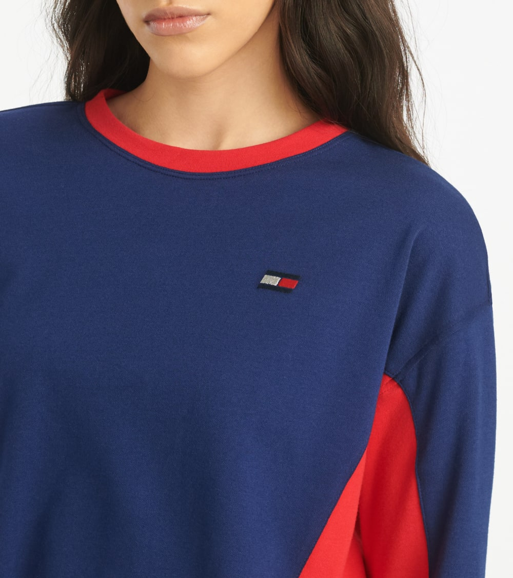 Tommy Hilfiger  Cropped Crew Neck With Taping  Blue - TP03590T-DBL | Jimmy Jazz