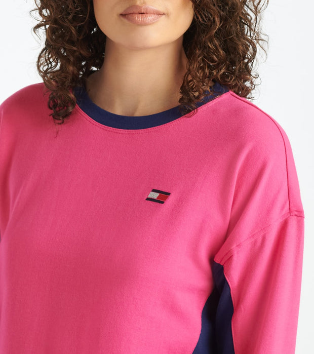 Tommy Hilfiger  Cropped Crew Neck With Taping Hem  Pink - TP03590T-FPK | Jimmy Jazz