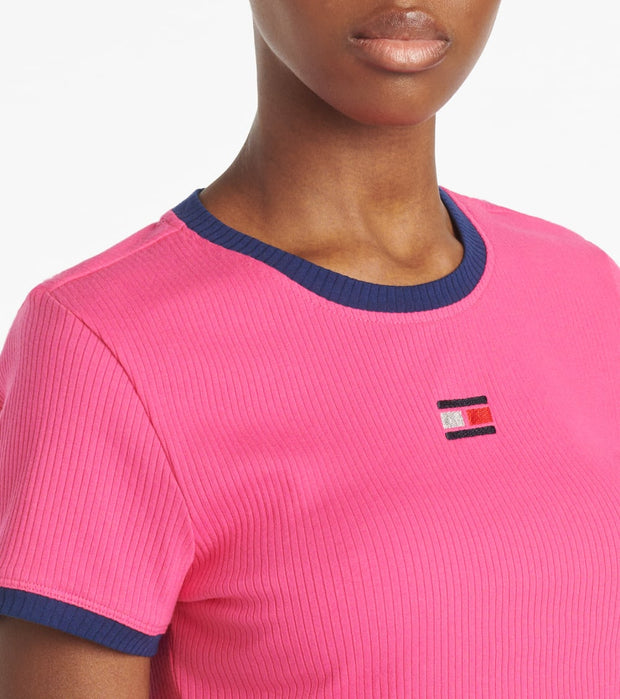 Tommy Hilfiger  Cropped Short Sleeve Crew Neck Rib Tee  Pink - TP03600T-FPK | Jimmy Jazz