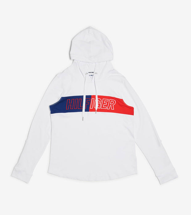 Tommy Hilfiger  Long Roll-Up Sleeve Logo Hoodie  White - TP03739T-WHT | Jimmy Jazz