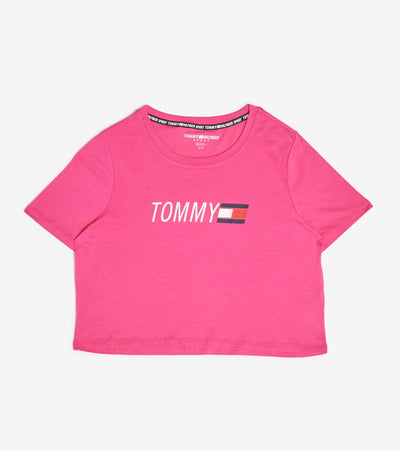 Tommy Hilfiger  Cropped Crew Neck Logo Tee  Pink - TP03754T-FUS | Jimmy Jazz