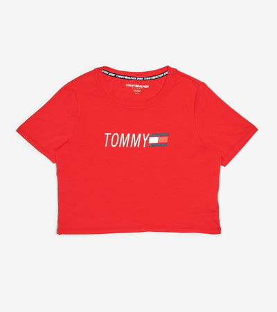 Tommy Hilfiger  Cropped Crew Neck Logo Tee  Red - TP03754T-SCA | Jimmy Jazz