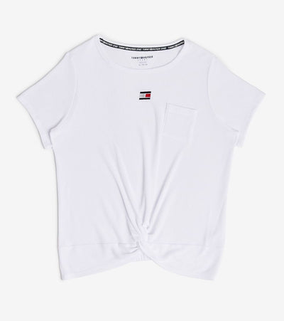 Tommy Hilfiger  Twist Front Short Sleeve Waffle Tee  White - TP03881T-WHT | Jimmy Jazz