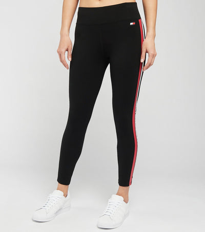 Tommy Hilfiger  Mid Rise Stripe and Logo Leggings  Black - TP07158P-3B1 | Jimmy Jazz
