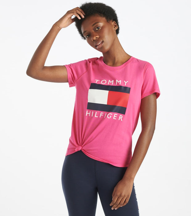 Tommy Hilfiger  Logo Knot Front Tee  Pink - TP92813T-FPK | Jimmy Jazz