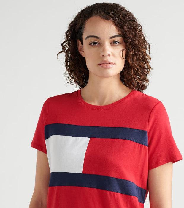 Tommy Hilfiger  Flag Color Blocked Tee  Red - TP93449T-RHR | Jimmy Jazz