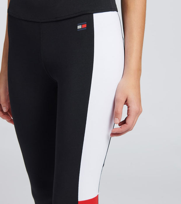 Tommy Hilfiger  Cuffed Flag Color Block Leggings  Black - TP96900P-BLK | Jimmy Jazz