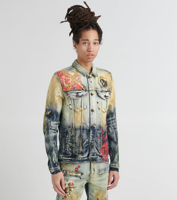 DE.KRYPTIC  Denim Jacket With Paint Splatter  Blue - WJKTPOP001-IDG | Jimmy Jazz