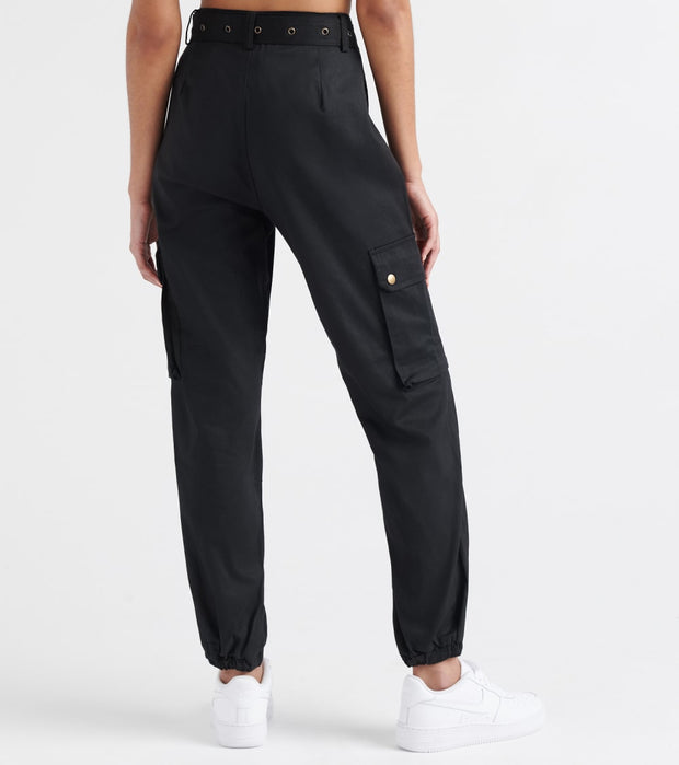 Essentials  High Waisted Belted Joggers  Black - WJP20-BLK | Jimmy Jazz