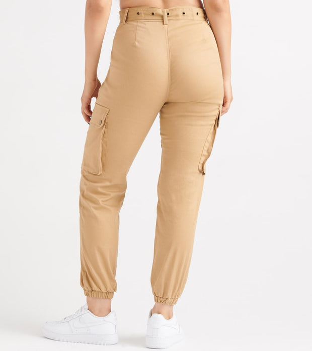 Essentials  High Waisted Belted Joggers  Natural - WJP20-KHK | Jimmy Jazz