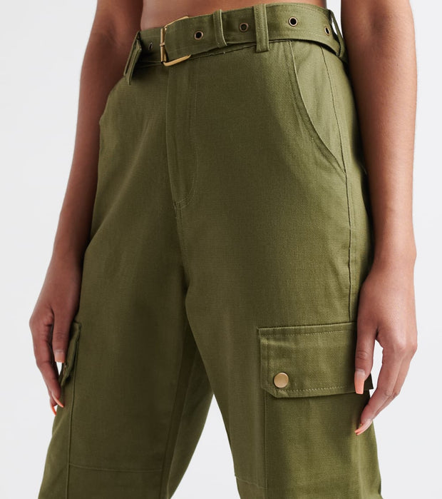 Essentials  High Waisted Belted Joggers  Green - WJP20-OLV | Jimmy Jazz