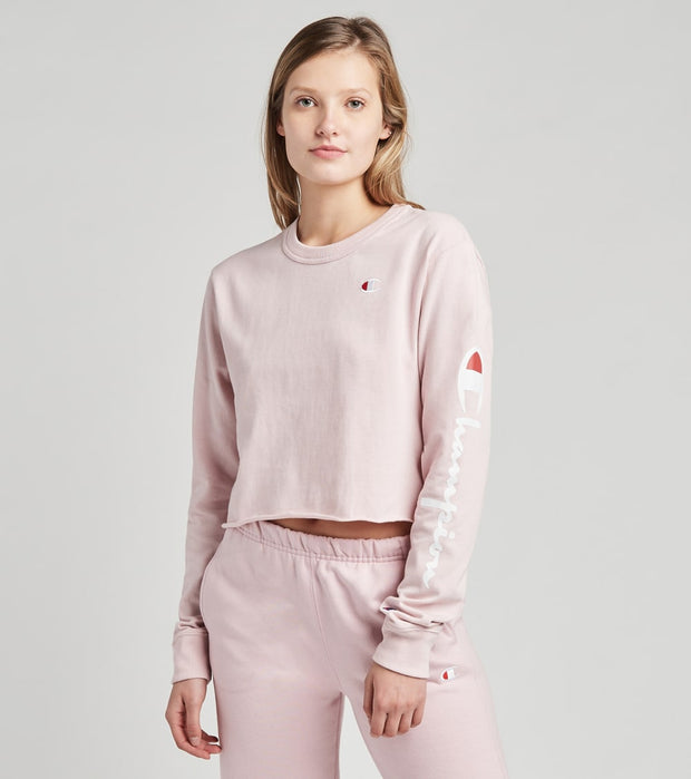 Champion  Long Sleeve Cropped Boyfriend Tee  Pink - WL7273586263-UN6 | Jimmy Jazz
