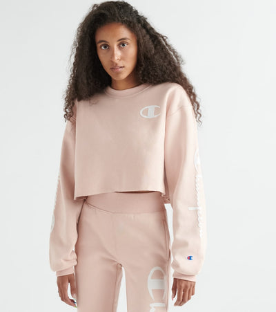 Champion  Reverse Weave Cropped Cut off Crew Flock  Pink - WL827G550212-5BF | Jimmy Jazz